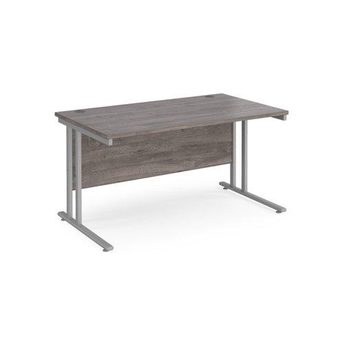 Maestro 25 straight desk 1400mm x 800mm - silver cantilever leg frame and grey oak top