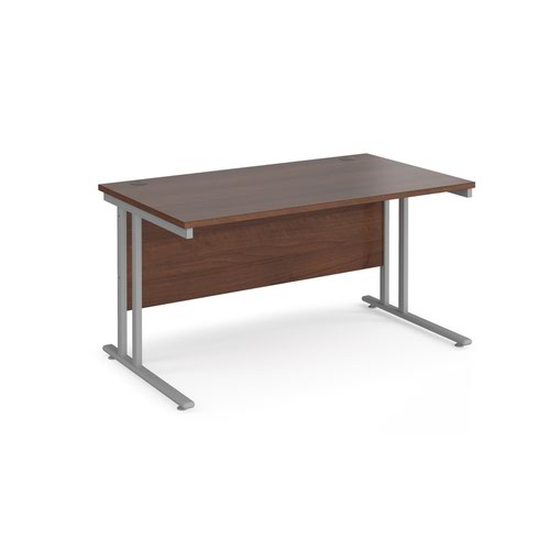 Maestro 25 straight desk 1400mm x 800mm - silver cantilever leg frame and walnut top