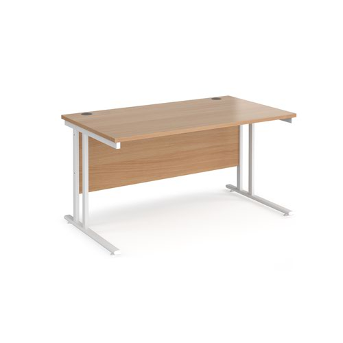 Maestro 25 straight desk 1400mm x 800mm - white cantilever leg frame and beech top