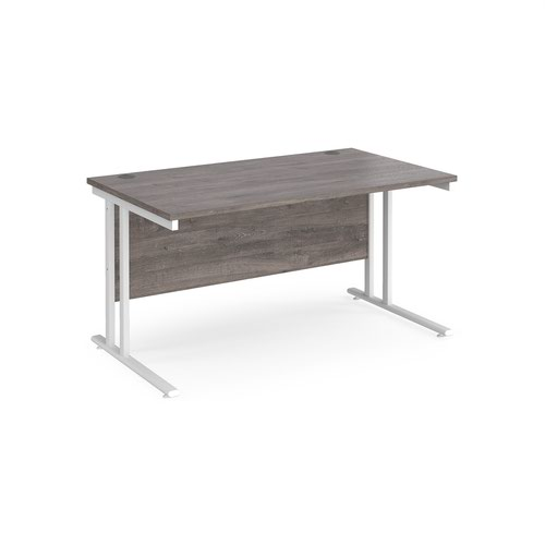 Maestro 25 straight desk 1400mm x 800mm - white cantilever leg frame and grey oak top