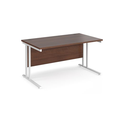Maestro 25 straight desk 1400mm x 800mm - white cantilever leg frame and walnut top