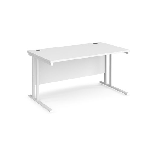 Maestro 25 straight desk 1400mm x 800mm - white cantilever leg frame and white top