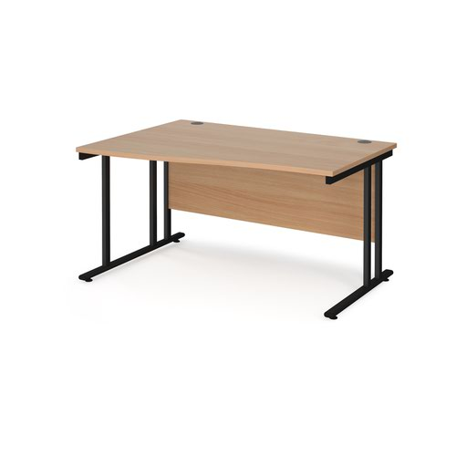 Maestro 25 left hand wave desk 1400mm wide - black cantilever leg frame and beech top