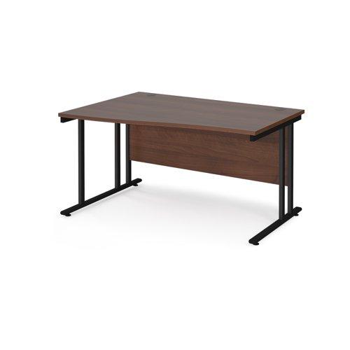 Maestro 25 left hand wave desk 1400mm wide - black cantilever leg frame and walnut top