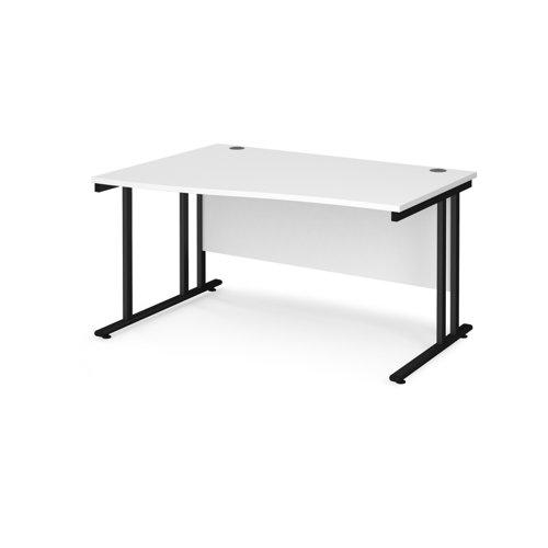 Maestro 25 left hand wave desk 1400mm wide - black cantilever leg frame and white top