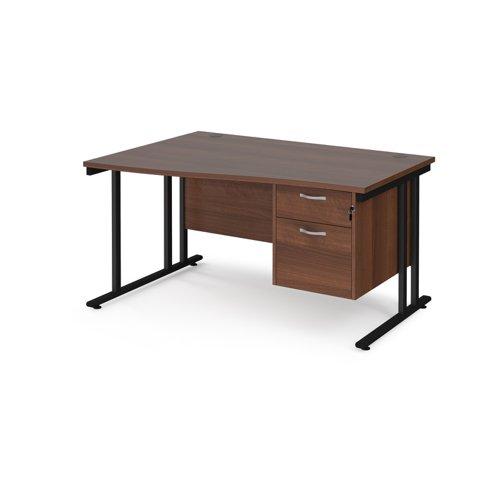 Maestro 25 left hand wave desk 1400mm wide with 2 drawer pedestal - black cantilever leg frame and walnut top