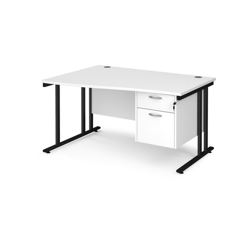 Maestro 25 left hand wave desk 1400mm wide with 2 drawer pedestal - black cantilever leg frame and white top
