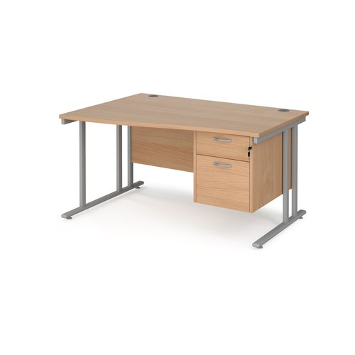 Maestro 25 left hand wave desk 1400mm wide with 2 drawer pedestal - silver cantilever leg frame and beech top