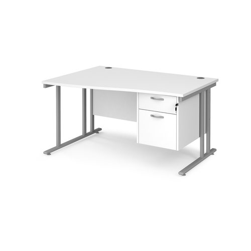 Maestro 25 left hand wave desk 1400mm wide with 2 drawer pedestal - silver cantilever leg frame and white top