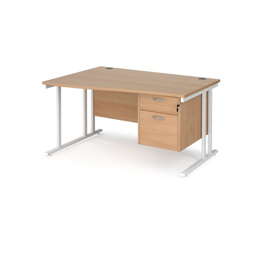 Maestro 25 left hand wave desk 1400mm wide with 2 drawer pedestal - white cantilever leg frame and beech top