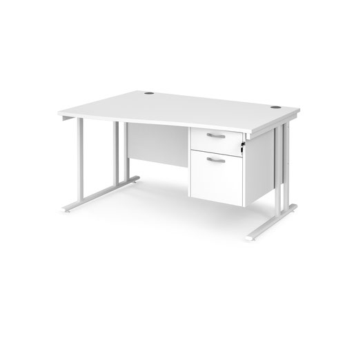 Maestro 25 left hand wave desk 1400mm wide with 2 drawer pedestal - white cantilever leg frame and white top