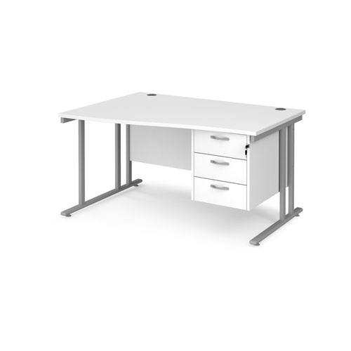 Maestro 25 left hand wave desk 1400mm wide with 3 drawer pedestal - silver cantilever leg frame and white top