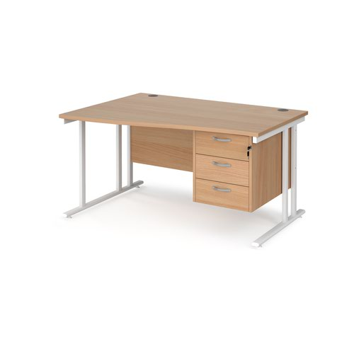 Maestro 25 left hand wave desk 1400mm wide with 3 drawer pedestal - white cantilever leg frame and beech top