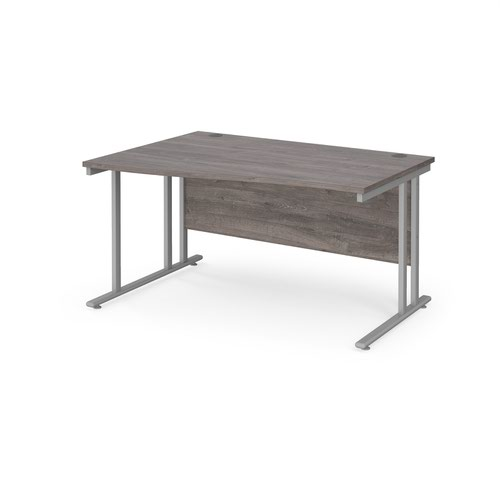 Maestro 25 left hand wave desk 1400mm wide - silver cantilever leg frame and grey oak top