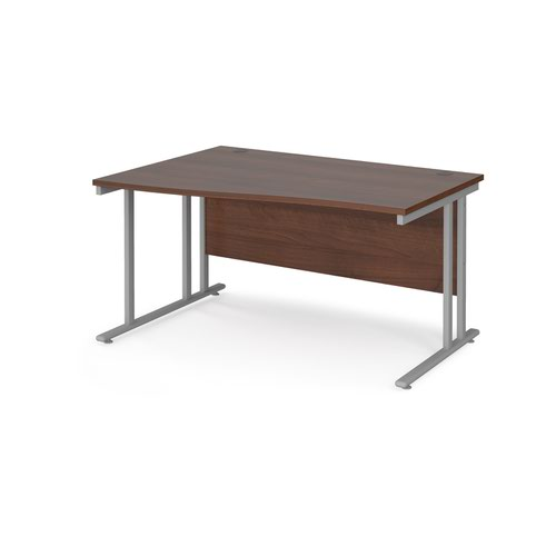 Maestro 25 left hand wave desk 1400mm wide - silver cantilever leg frame and walnut top