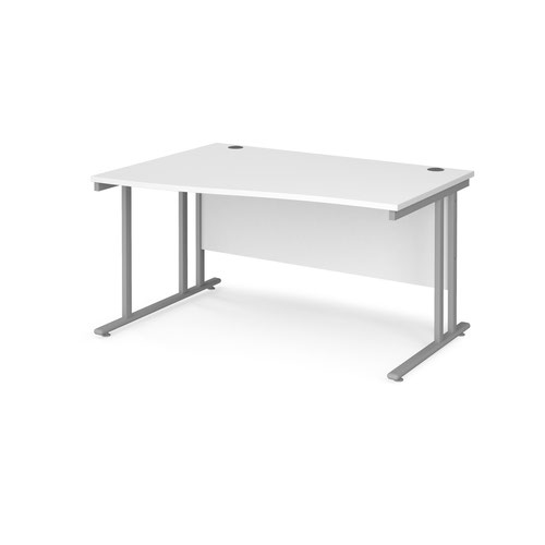 Maestro 25 left hand wave desk 1400mm wide - silver cantilever leg frame and white top