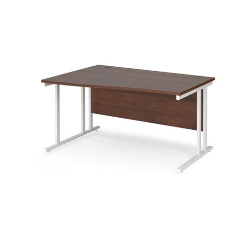 Maestro 25 left hand wave desk 1400mm wide - white cantilever leg frame and walnut top