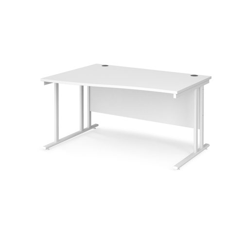 Maestro 25 left hand wave desk 1400mm wide - white cantilever leg frame and white top
