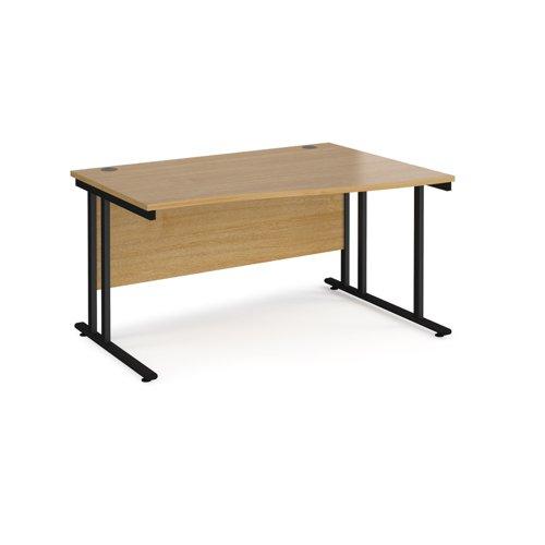 Maestro 25 right hand wave desk 1400mm wide - black cantilever leg frame and oak top