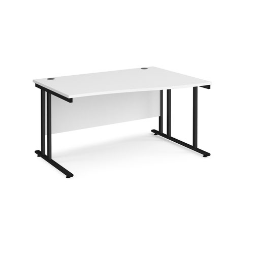 Maestro 25 right hand wave desk 1400mm wide - black cantilever leg frame and white top