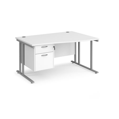 Maestro 25 right hand wave desk 1400mm wide with 2 drawer pedestal - silver cantilever leg frame and white top