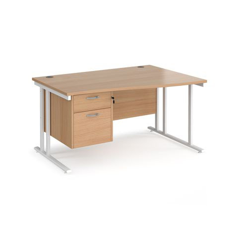 Maestro 25 right hand wave desk 1400mm wide with 2 drawer pedestal - white cantilever leg frame and beech top