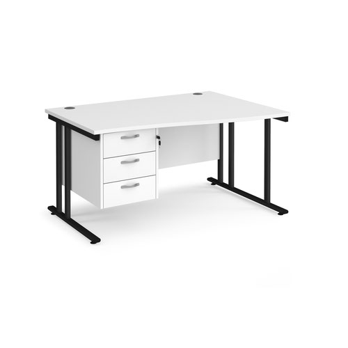 Maestro 25 right hand wave desk 1400mm wide with 3 drawer pedestal - black cantilever leg frame and white top