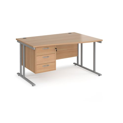 Maestro 25 right hand wave desk 1400mm wide with 3 drawer pedestal - silver cantilever leg frame and beech top