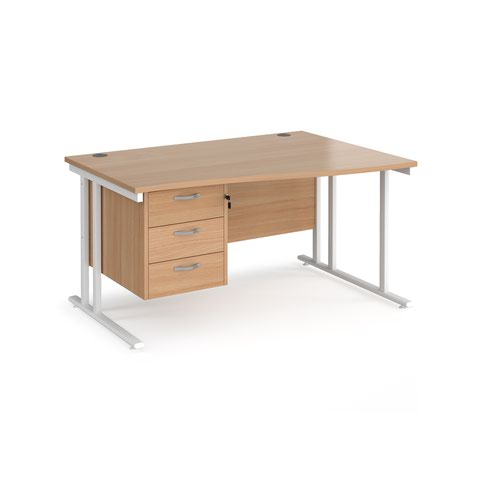 Maestro 25 right hand wave desk 1400mm wide with 3 drawer pedestal - white cantilever leg frame and beech top