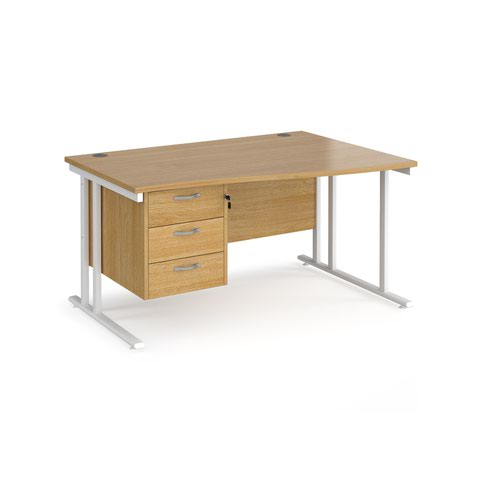 Maestro 25 right hand wave desk 1400mm wide with 3 drawer pedestal - white cantilever leg frame and oak top