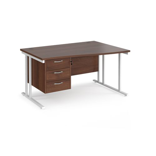 Maestro 25 right hand wave desk 1400mm wide with 3 drawer pedestal - white cantilever leg frame and walnut top