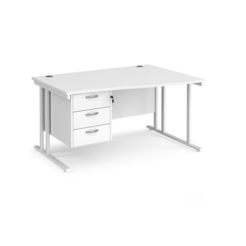 Maestro 25 right hand wave desk 1400mm wide with 3 drawer pedestal - white cantilever leg frame and white top