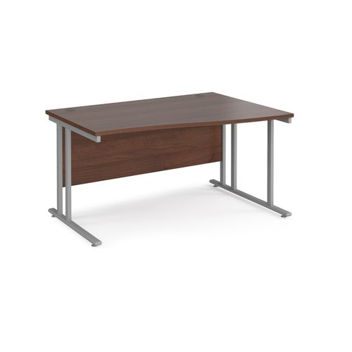 Maestro 25 right hand wave desk 1400mm wide - silver cantilever leg frame and walnut top