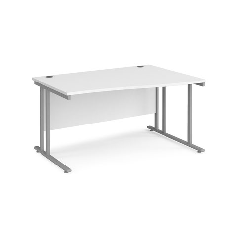 Maestro 25 right hand wave desk 1400mm wide - silver cantilever leg frame and white top