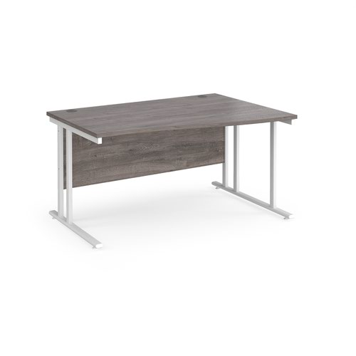 Maestro 25 right hand wave desk 1400mm wide - white cantilever leg frame and grey oak top