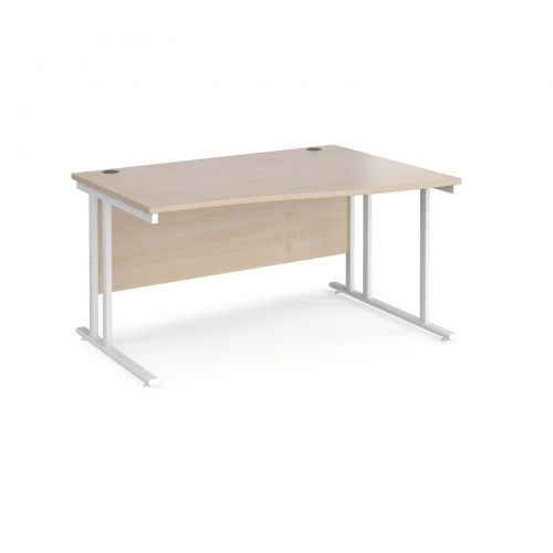 Maestro 25 right hand wave desk 1400mm wide - white cantilever leg frame and maple top