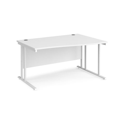 Maestro 25 right hand wave desk 1400mm wide - white cantilever leg frame and white top