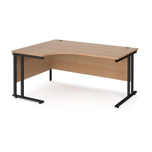 Maestro 25 left hand ergonomic desk 1600mm wide - black cantilever leg frame and beech top