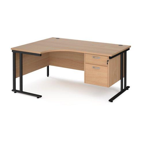 Maestro 25 left hand ergonomic desk 1600mm wide with 2 drawer pedestal - black cantilever leg frame and beech top