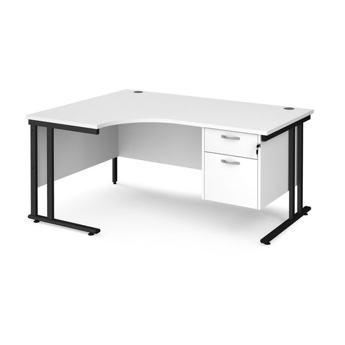 Maestro 25 left hand ergonomic desk 1600mm wide with 2 drawer pedestal - black cantilever leg frame and white top