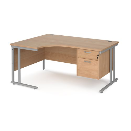 Maestro 25 left hand ergonomic desk 1600mm wide with 2 drawer pedestal - silver cantilever leg frame and beech top