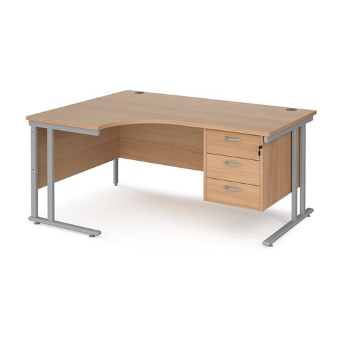 Maestro 25 left hand ergonomic desk 1600mm wide with 3 drawer pedestal - silver cantilever leg frame and beech top