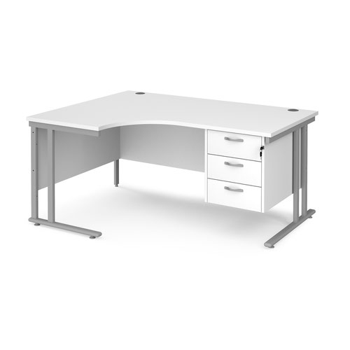 Maestro 25 left hand ergonomic desk 1600mm wide with 3 drawer pedestal - silver cantilever leg frame and white top