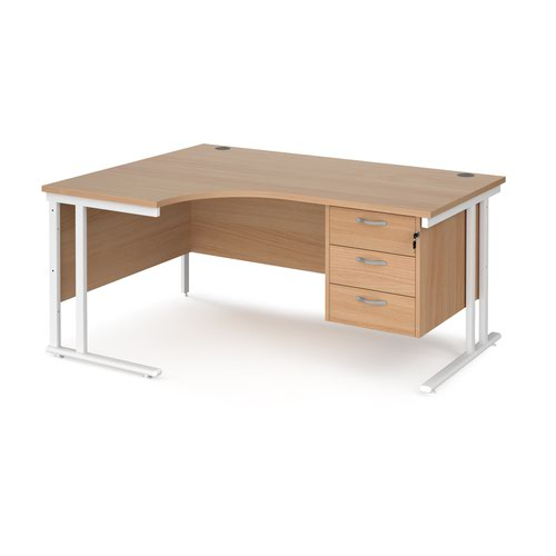 Maestro 25 left hand ergonomic desk 1600mm wide with 3 drawer pedestal - white cantilever leg frame and beech top