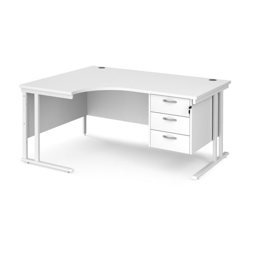 Maestro 25 left hand ergonomic desk 1600mm wide with 3 drawer pedestal - white cantilever leg frame and white top