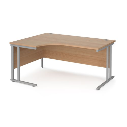 Maestro 25 left hand ergonomic desk 1600mm wide - silver cantilever leg frame and beech top