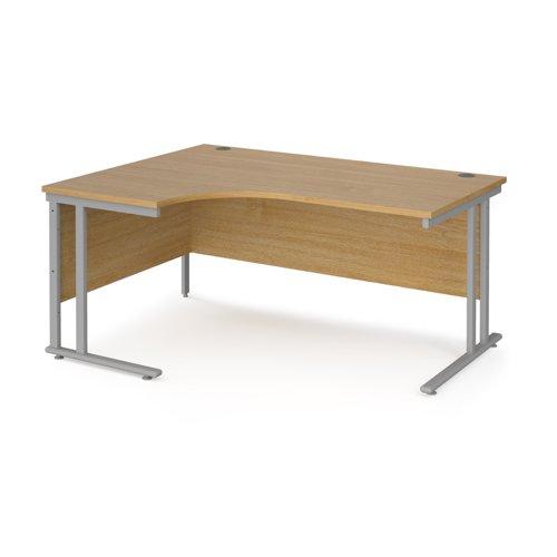Maestro 25 Sl Sil Dble Uprgt Cant LH Ergo Desk 1600mm X 1200/800/600 Oak 25mm Top 18mm Back Panel