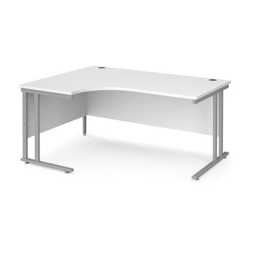 Maestro 25 left hand ergonomic desk 1600mm wide - silver cantilever leg frame and white top