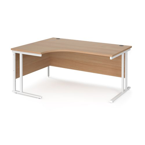 Maestro 25 left hand ergonomic desk 1600mm wide - white cantilever leg frame and beech top
