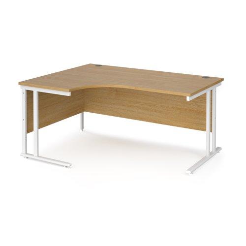 Maestro 25 left hand ergonomic desk 1600mm wide - white cantilever leg frame and oak top